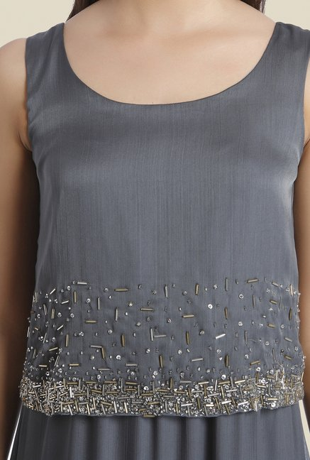 Ether Grey Ariana Embellished Designer Dress