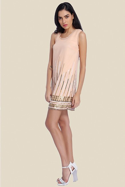 Ether Peach Alice Raw Edge Sequin Shift Dress