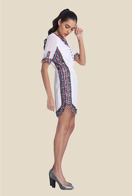 Ether White June Embellished Shirt Dress