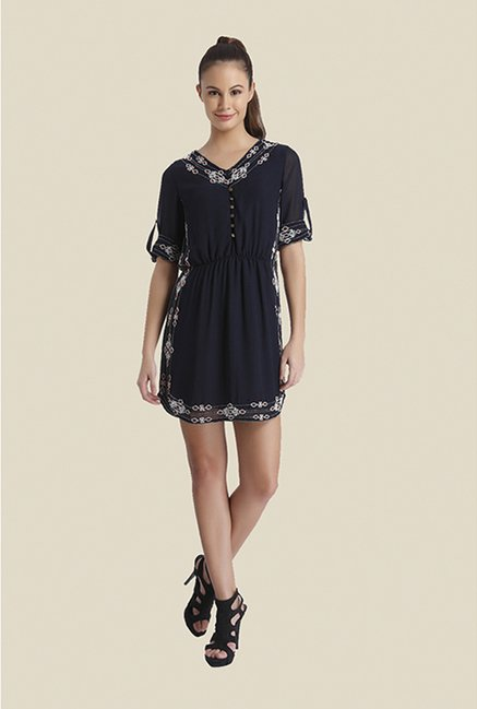 Ether Black Olivia Beaded Shirt Dress