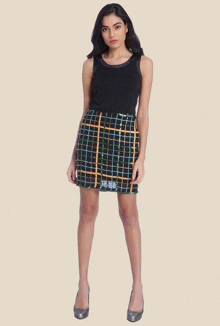 Ether Black Manhattan Sequin Embellished Skirt