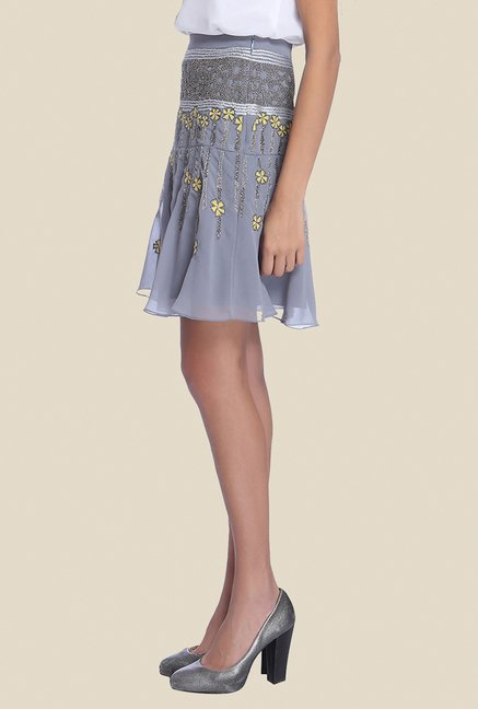 Ether Grey Florence Yoke Flare Embellished Skirt