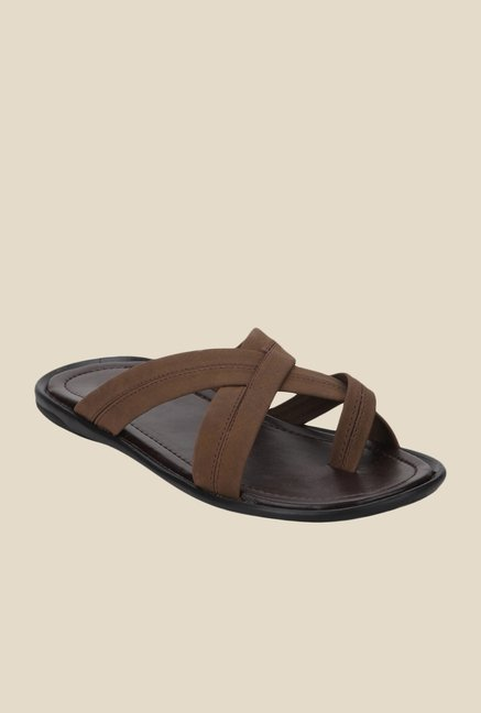 Yepme Brown Cross Strap Sandals