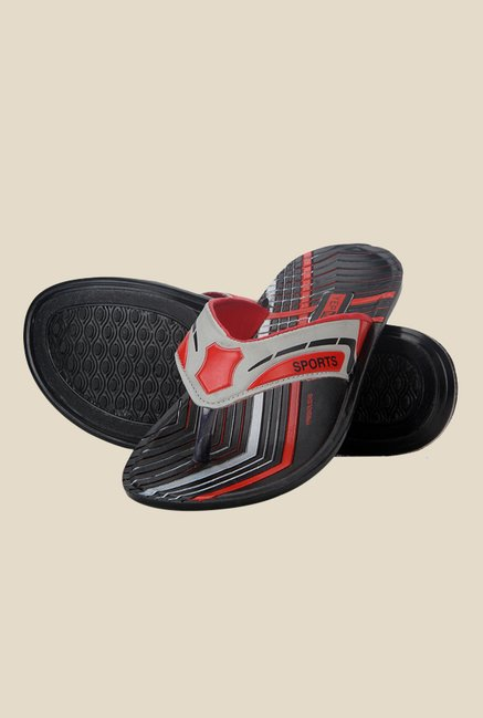 Yepme Grey & Red Thong Sandals
