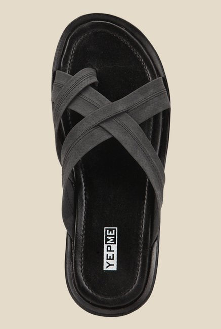 Yepme Grey Cross Strap Sandals