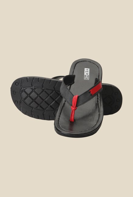 Yepme Black & Red Thong Sandals