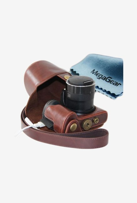 MegaGear Leather Camera Case for Canon Sx510 HS (Dark Brown)