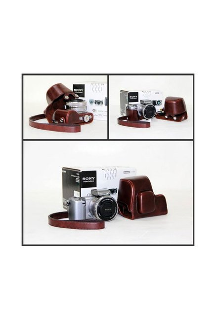 MegaGear Leather Camera Case for Sony NEX-5R Camera (Brown)