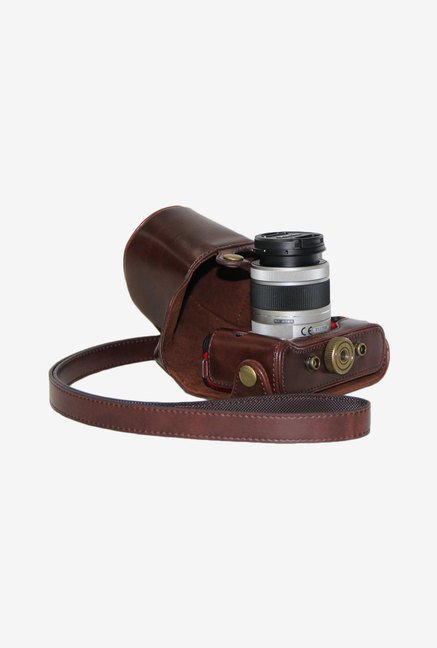 MegaGear Leather Camera Case for Pentax Q02/Q10 (Dark Brown)