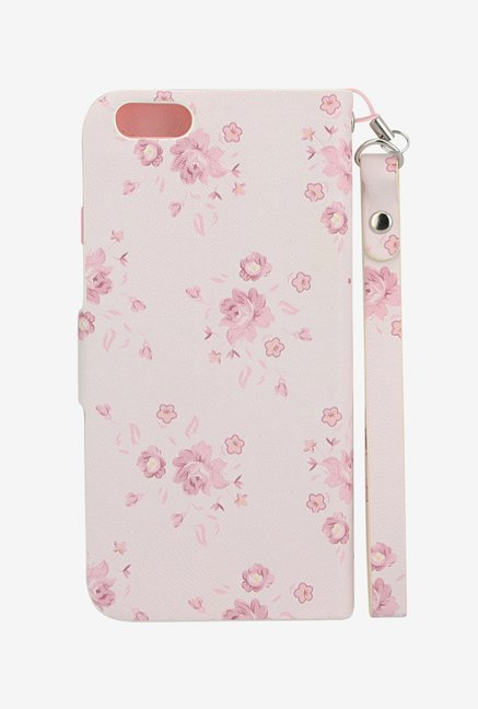 Memumi Flower Printed Flip Cover for iPhone 6 (White)