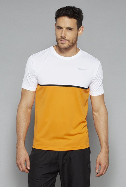 Westsport by Westside Orange & White Slim Fit T Shirt