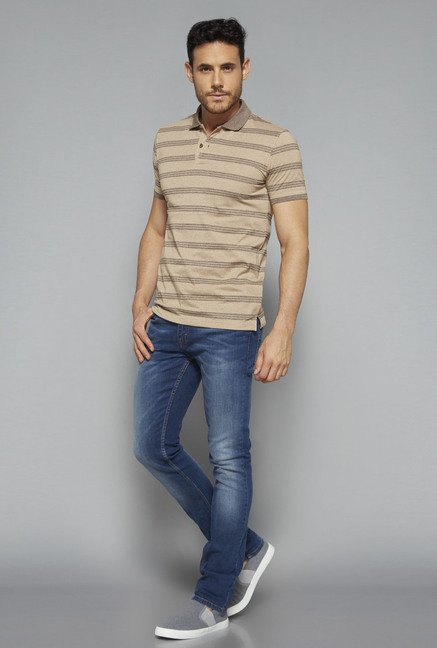 Westsport Casual by Westside Beige Slim Fit T Shirt