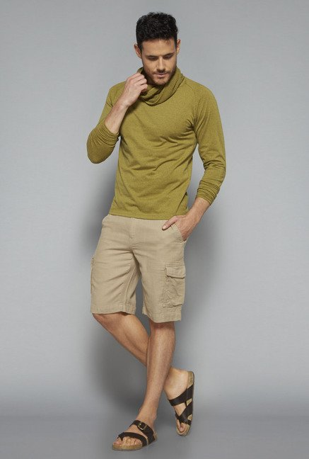 ETA by Westside Beige Slim Fit Shorts