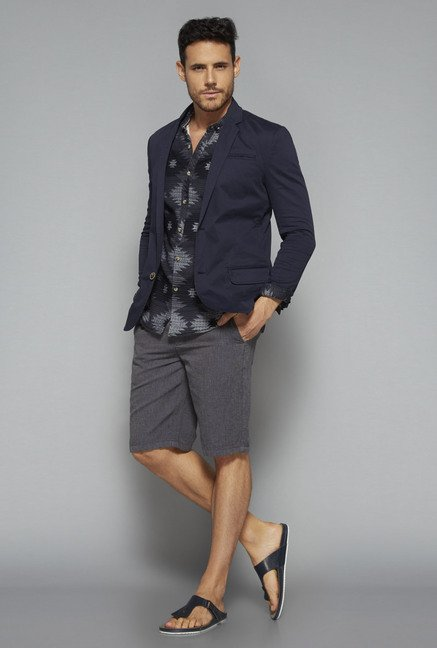 ETA by Westside Grey Slim Fit Shorts