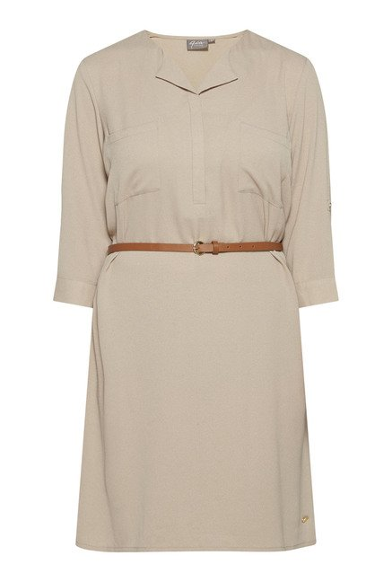 Gia by Westside Taupe Solid Dress