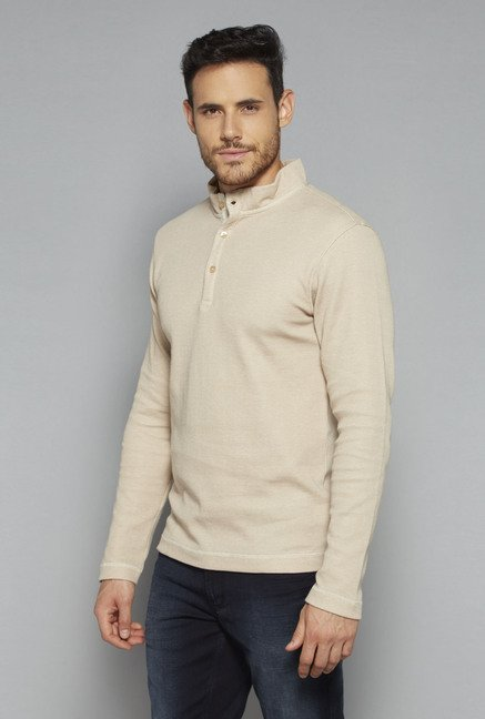 Ascot by Westside Beige Slim Fit T Shirt