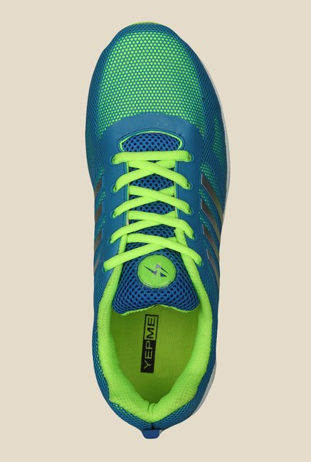 Yepme Peyton Blue & Neon Green Running Shoes