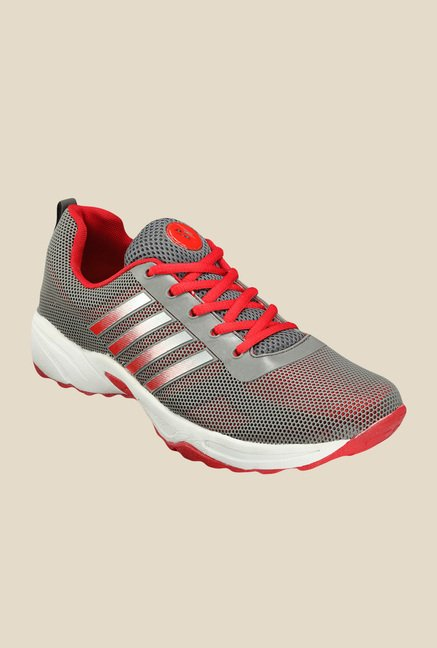 Yepme Peyton Grey & Red Running Shoes