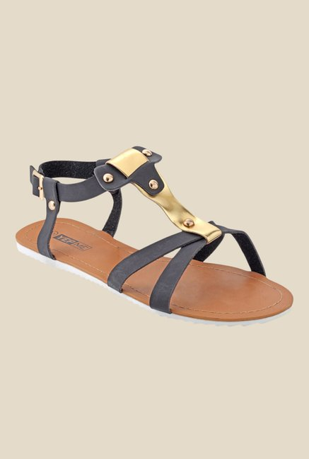 Yepme Black & Golden Back Strap Sandals