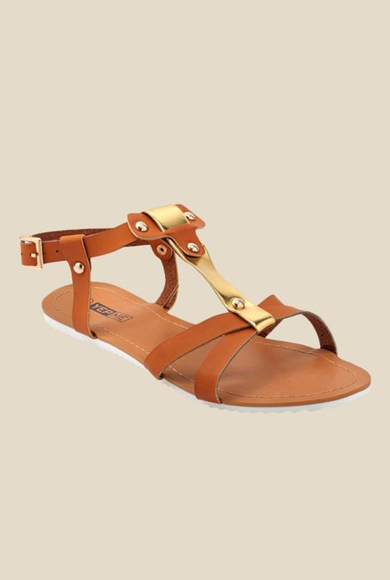 Yepme Brown & Golden Back Strap Sandals