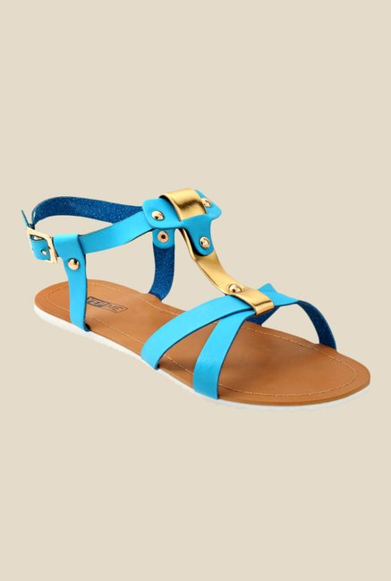 Yepme Blue & Golden Back Strap Sandals