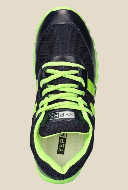 Yepme Navy & Green Running Shoes