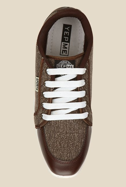 Yepme Brown & White Running Shoes