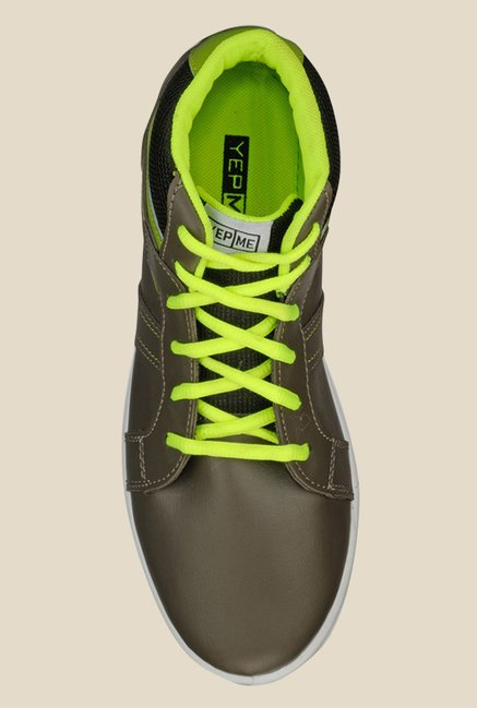 Yepme Grey & Green Ankle High Running Shoes