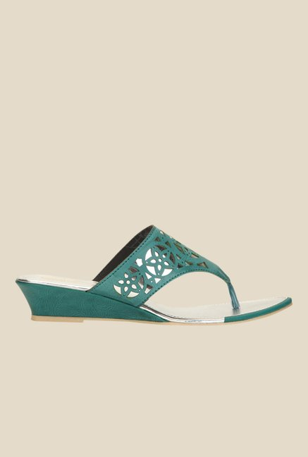 Yepme Green Wedge Heeled Thong Sandals