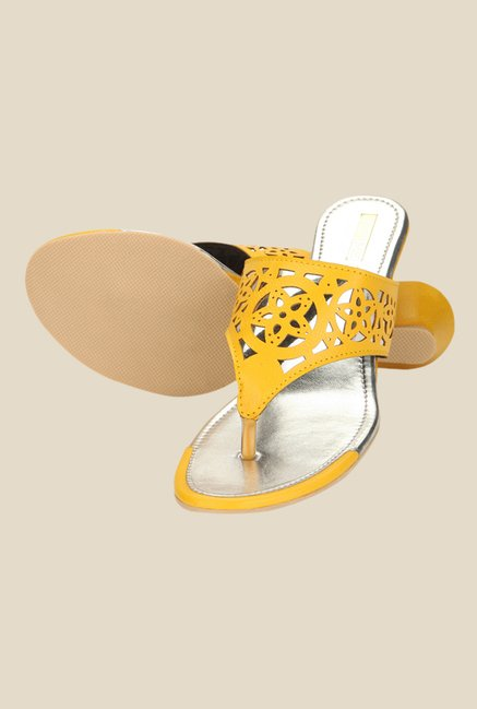 Yepme Yellow Wedge Heeled Thong Sandals