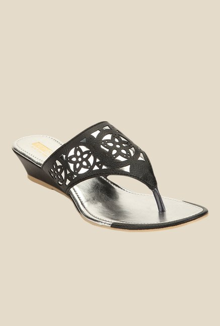 Yepme Black Wedge Heeled Thong Sandals