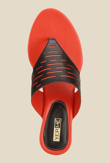 Yepme Black & Red Wedge Heeled Thong Sandals