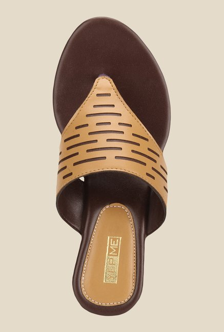 Yepme Tan & Brown Wedge Heeled Thong Sandals