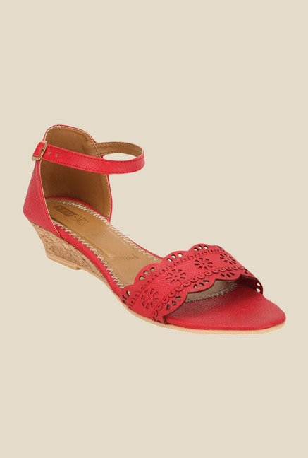 Yepme Red Ankle Strap Wedges