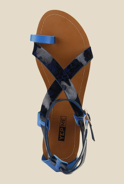 Yepme Navy & Black Ankle Strap Sandals