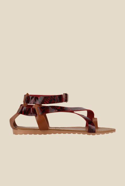 Yepme Red & Black Ankle Strap Sandals