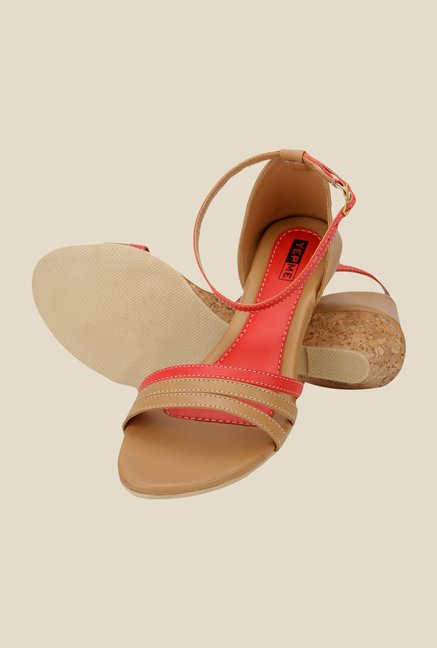 Yepme Tan & Red Ankle Strap Wedges
