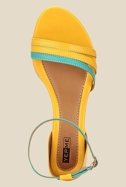 Yepme Yellow & Turquoise Ankle Strap Wedges