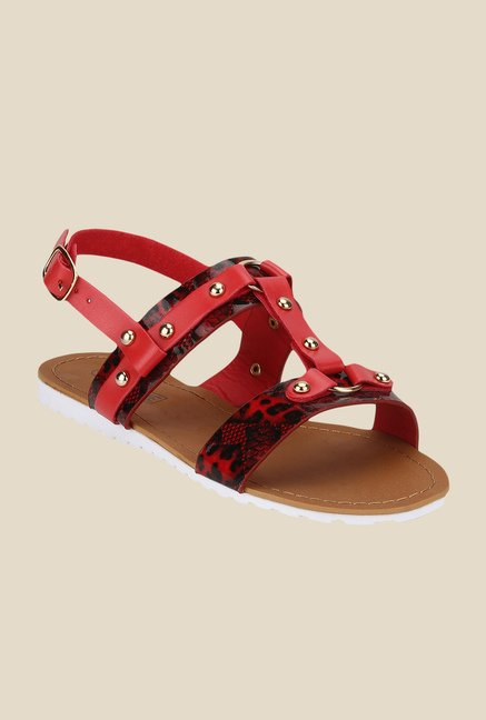 Yepme Red & Black Back Strap Sandals