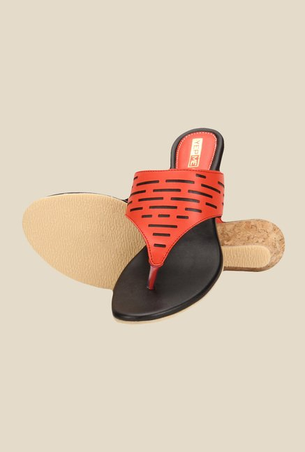 Yepme Red & Black Wedge Heeled Thong Sandals