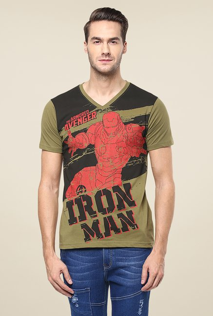 Yepme Marvel Iron Man Teardown Olive Printed T Shirt