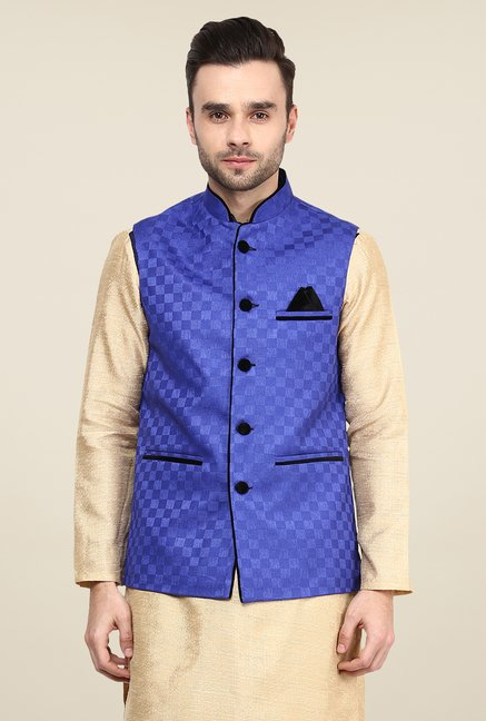 Yepme Blue Jason Self Print Nehru Jacket
