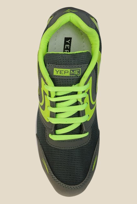 Yepme Dark Grey & Neon Green Sneakers