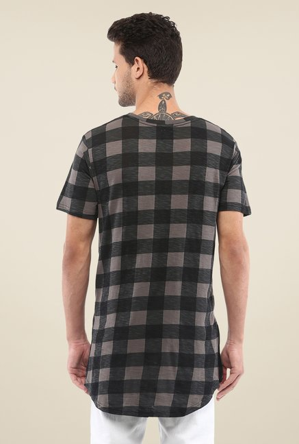Yepme Grey & Black Nick Longline Checks T Shirt