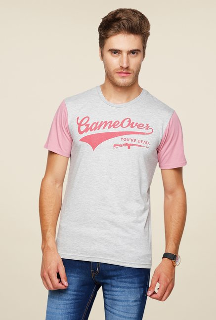 Yepme Gameover Grey Graphic Print T Shirt
