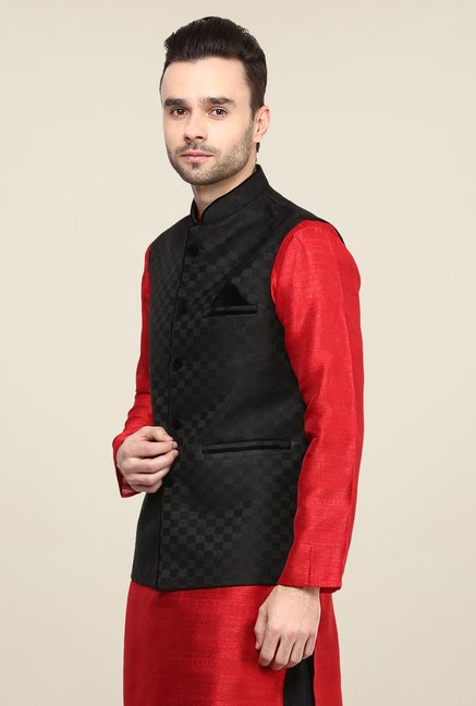 Yepme Black Jason Self Print Nehru Jacket