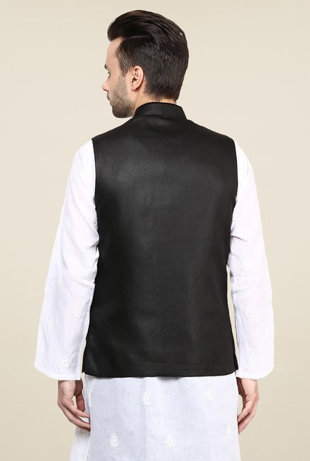 Yepme Black Ewan Solid Nehru Jacket