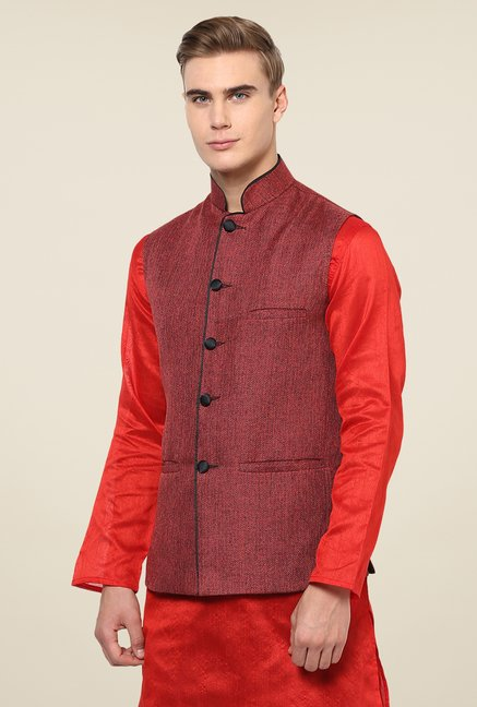 Yepme Red Alvin Solid Nehru Jacket