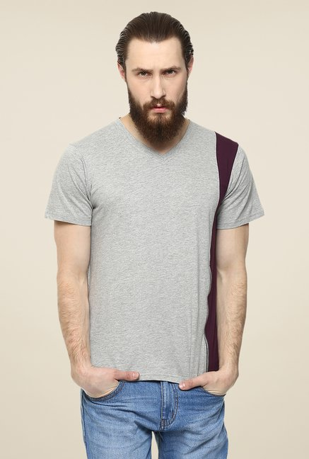 Yepme Grey Reeves Party Solid T Shirt