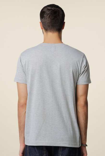 Yepme Perroquet Grey Graphic Photoprint T Shirt